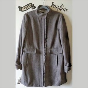 BR Navy Taupe Classic Pea Coat Winter Jacket L
